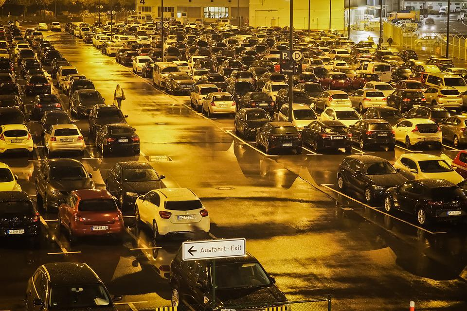 Airport, Parking, Parked, Asphalt, Night, Autos, Pkw