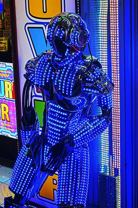 Japan, Robot, Night, Show, Blue