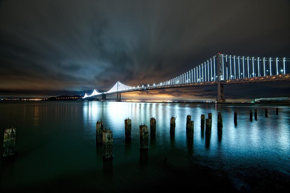 Architecture, Bridge, Lights, Night, Ocean, Sea