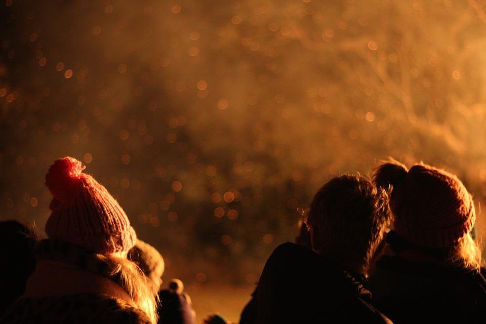 Bonfire, Smoke, Fire, Campfire, Night, Winter, People