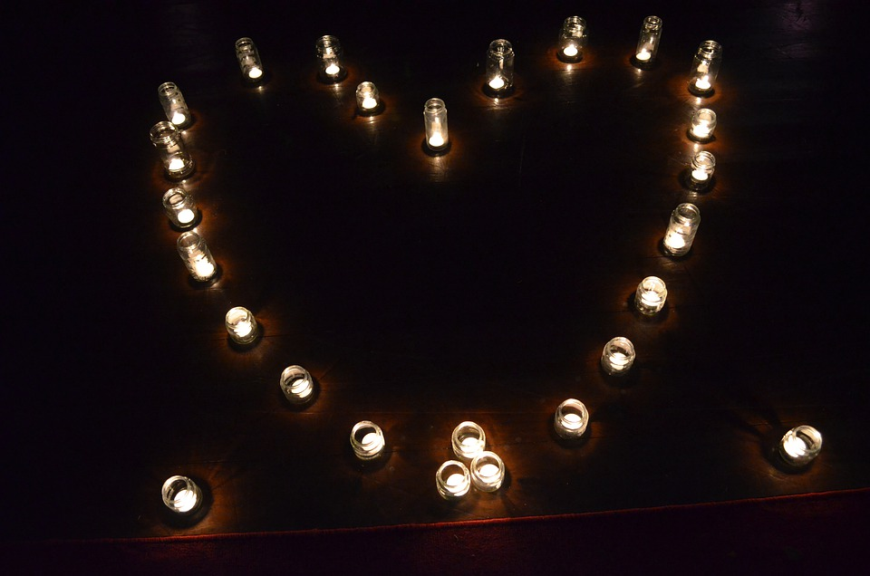 Candles, Heart, Night