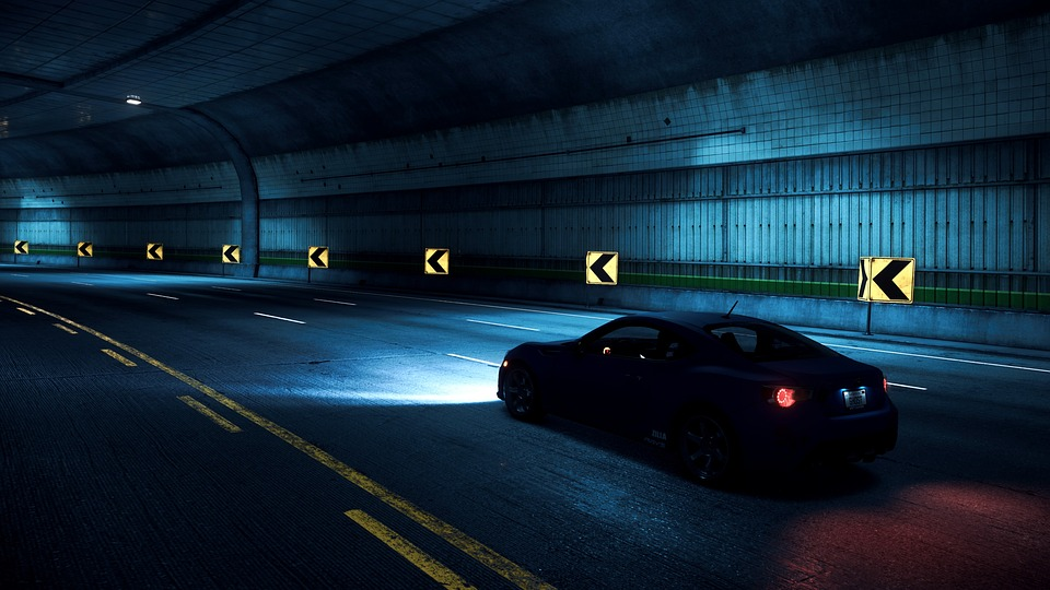 Free Photo Night Car Asphalt Need For Speed Way Tunnel Max Pixel