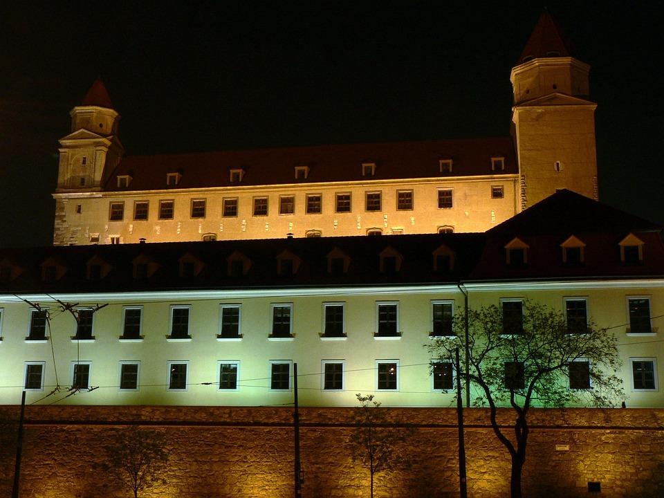 Slovakia, Bratislava, Castle, Night