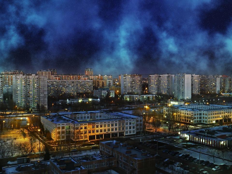 Solntsevo, Moscow, Night, Aviators, Clouds, Night City