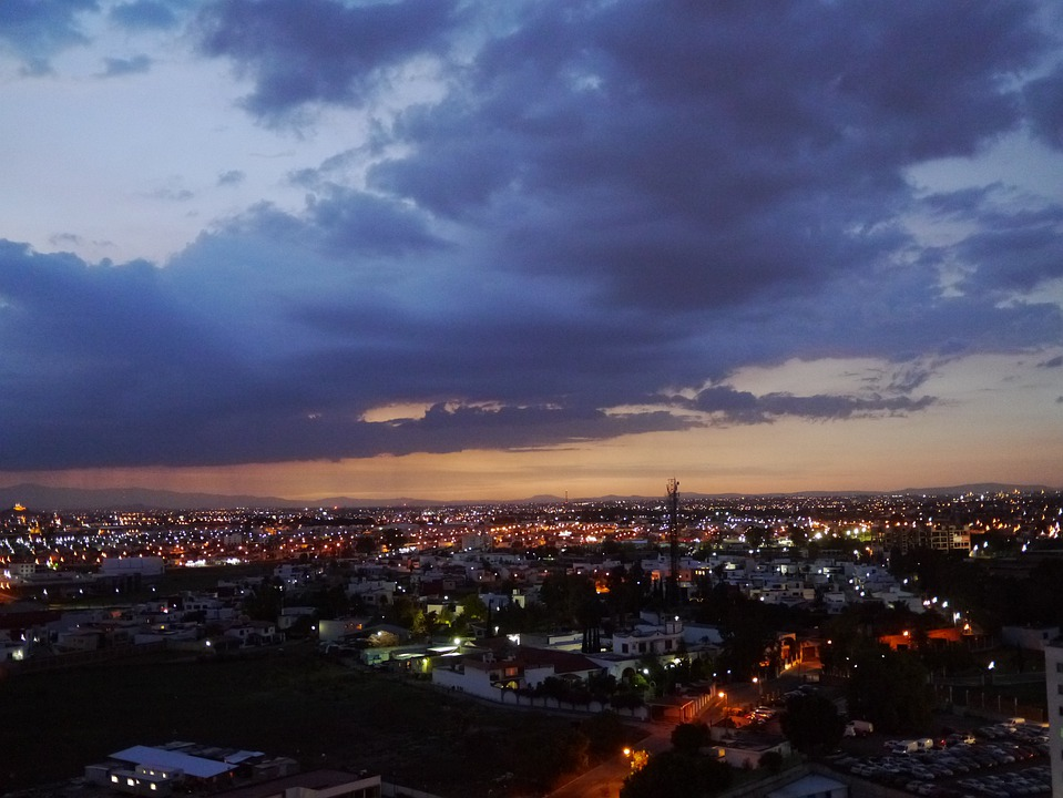 Puebla, City, Night, Clouds, Sunset, Mexico