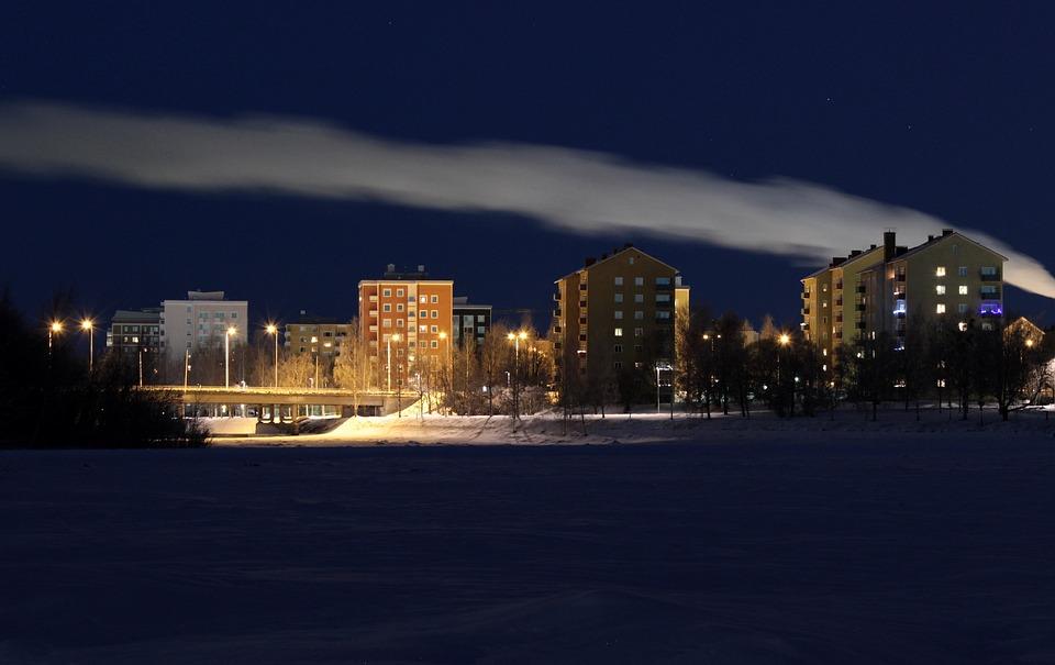 Night, Evening, Sky, Clouds, Lights, Lighting