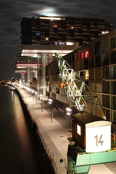 Cologne, Crane Homes, Rheinauhafen, Night, Rhine