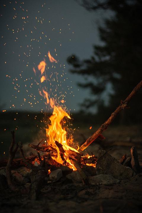 Fire Flame Lights Bonfire Campfire Dark Night