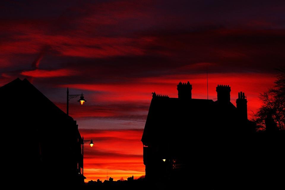 Red, Orange, Sky, Dark, Night, Building, House, Tree