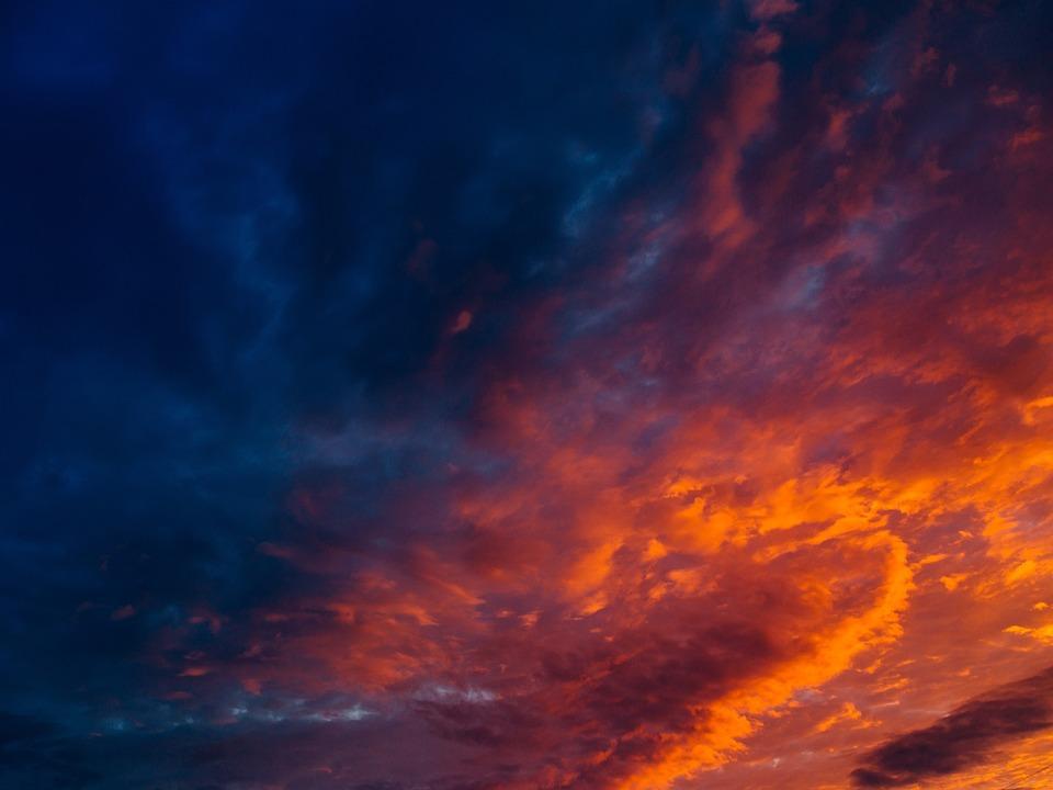 Sunset, Sky, Orange, Dusk, Clouds, Cloudy, Night