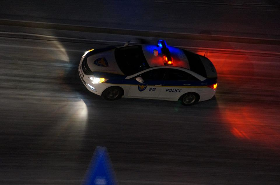 Republic Of Korea, Police Car, Police, Night, Duty