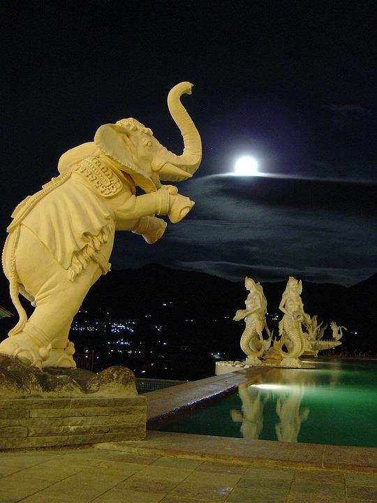 Night, Moon, Elephant, Statue, Stonework, Stone