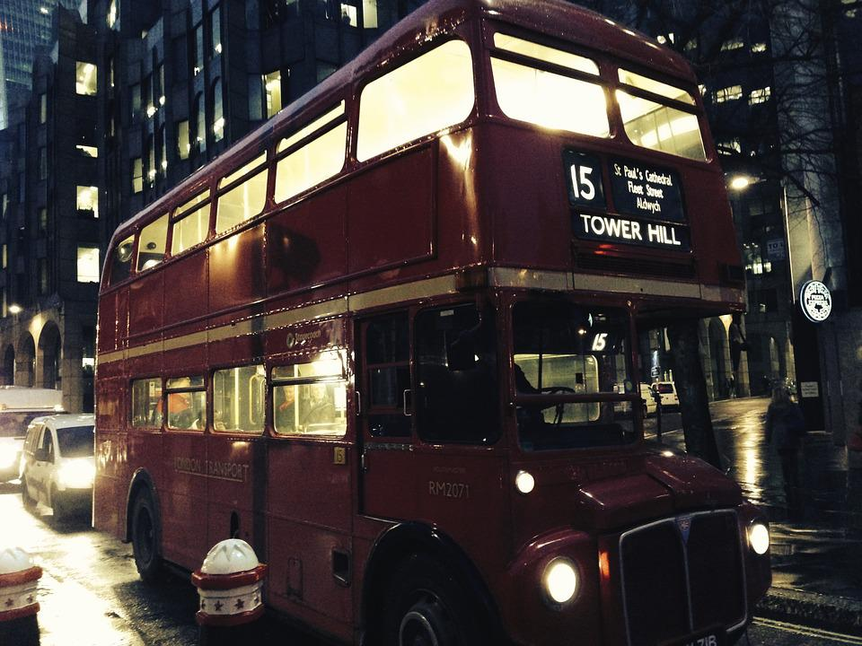 Bus, London, England, Night, Great Britain