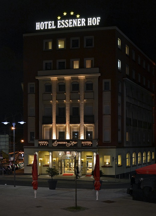 Essener, Germany, Hotel, Building, Architecture, Night