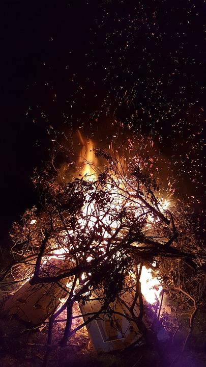 Bonfire, Fire, Night, Campfire, Wood, Flame, Burn