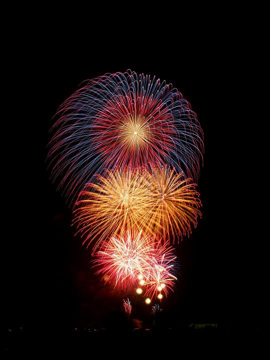 Fireworks, Summer In Japan, Night, Summer, Night Sky