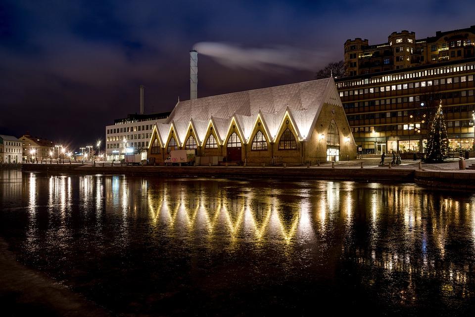 Feskekyrkan, Fiskekyrka, Gothenburg, Night, City, Water