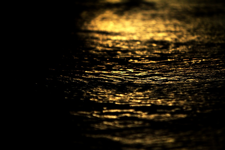 Water, Flow, Moisture, Reflection, Night