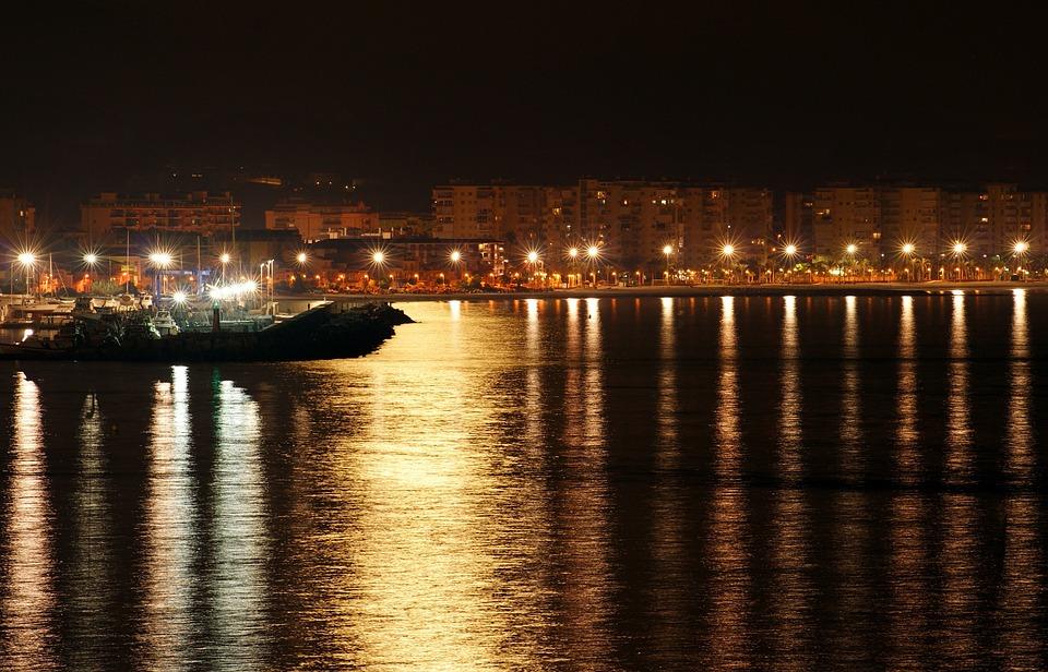 Port, Cove, Sea, Night, Water, Boat, Focus, Light