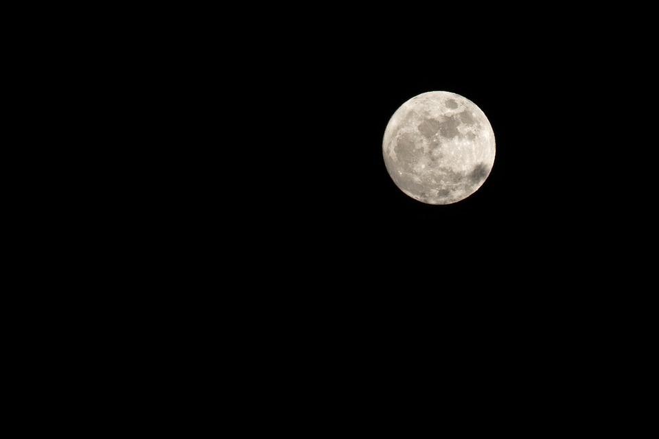 Luna, Full Moon, Night, Nero, Clear Night, Infinite