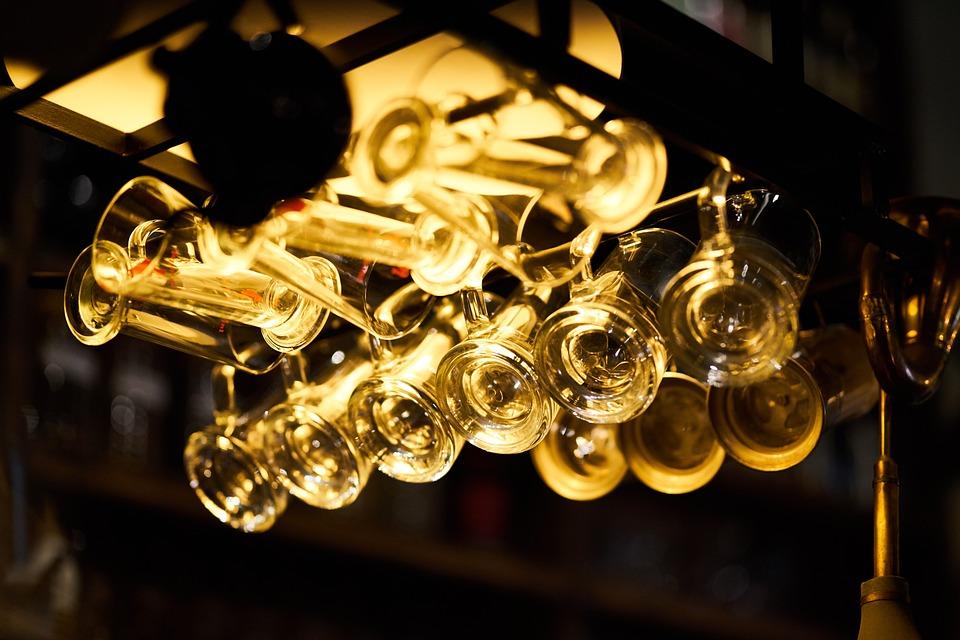 Bar, Cafe, Glasses, Light, Glass, Night, Beautiful