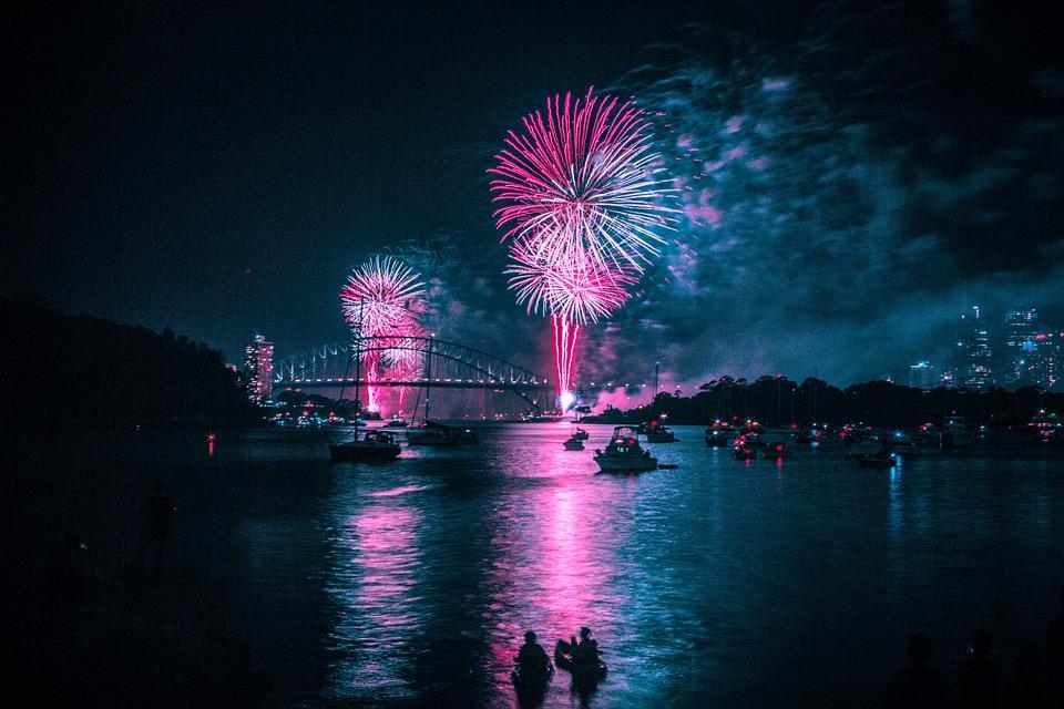 Fireworks, Harbour, Blue, Pink, Night, Celebration