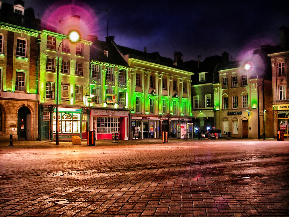 Northampton, England, Town, Market Square, Hdr, Night