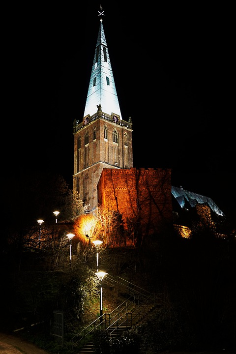 Church, Night Heinsberg, Light, Lights, Cathedral