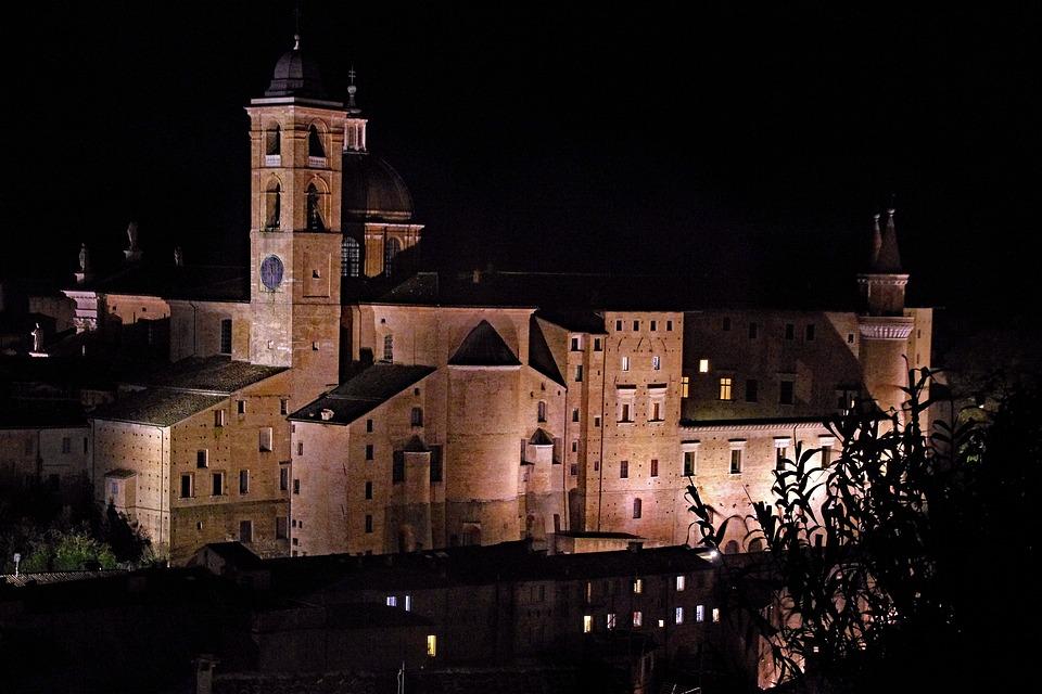 Urbino, Palazzo Ducale, Night, Historical Building