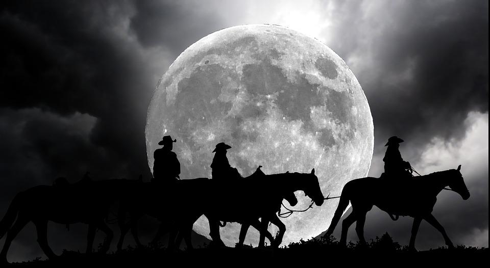 Riders, Horses, Night, Moon, Western, Nature, Landscape