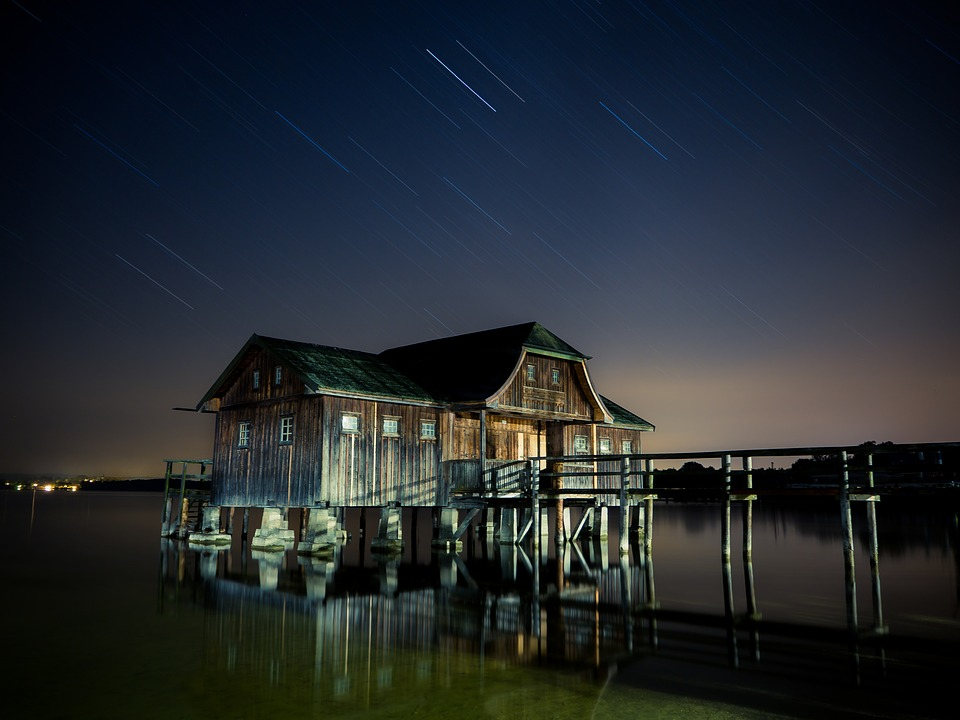 Hut, Stilt Houses, Star, Ammersee, Night, House