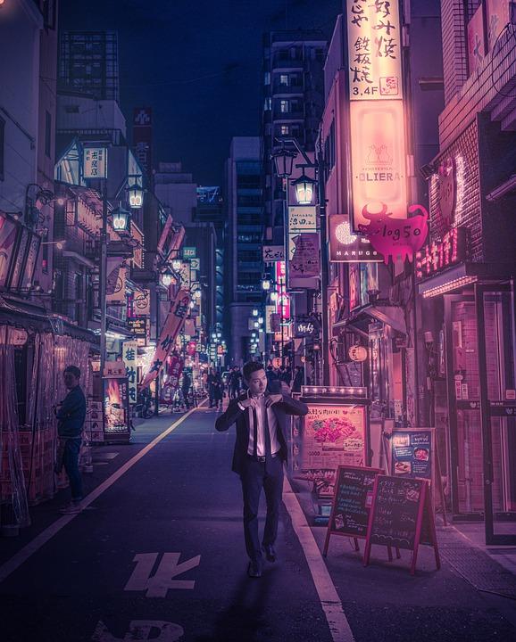 Japan, Cyberpunk, Street, Neon, Asia, Japanese, Night