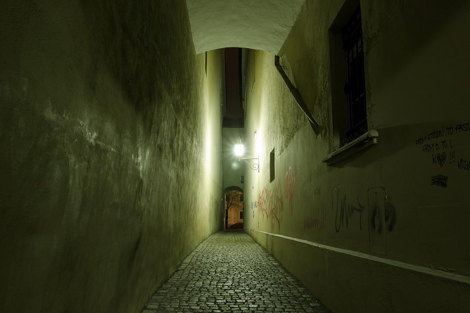 Alley, Darkness, Night, Lantern, Street Lighting