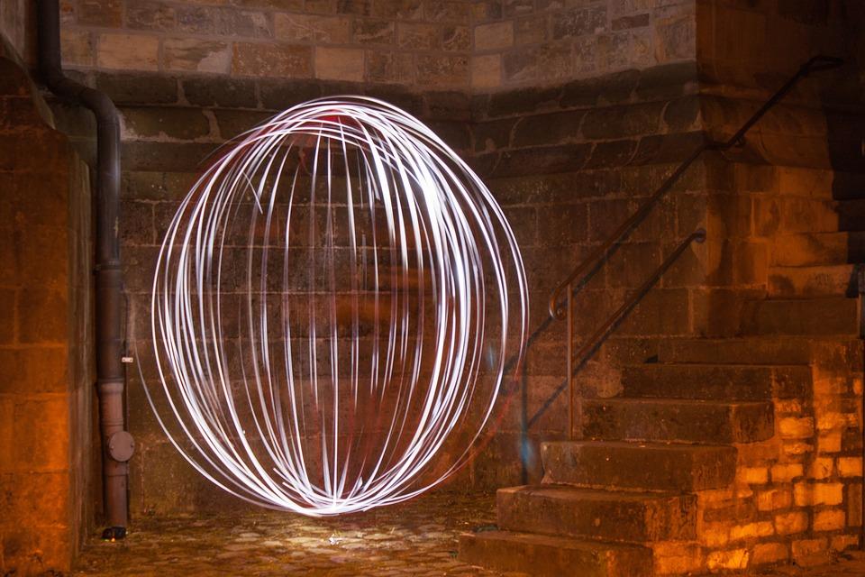 Led Light, Light Ball, Stairs, Night