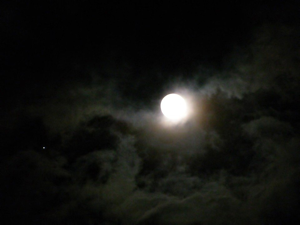 Moon, Night, Full Moon, Moonlight, Light, Sky, Clouds