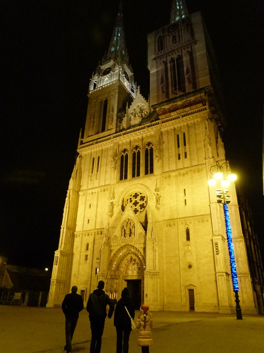 Cathedral, Night, Lights, European, Historical