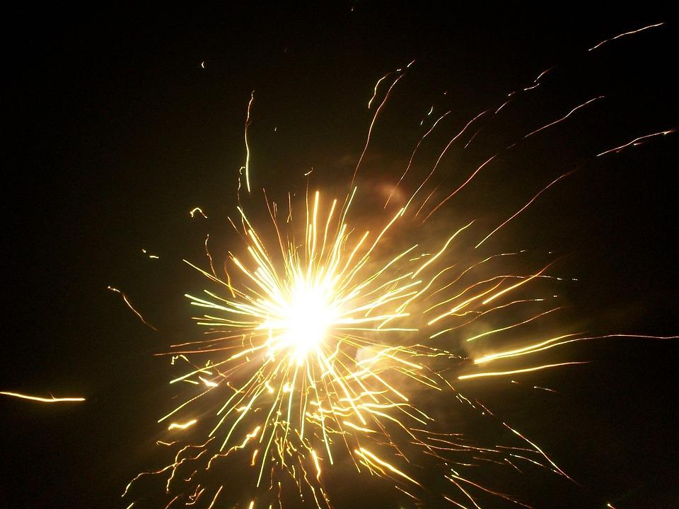 Fireworks, Lights, Night, Pyrotechnics, Rays, Light