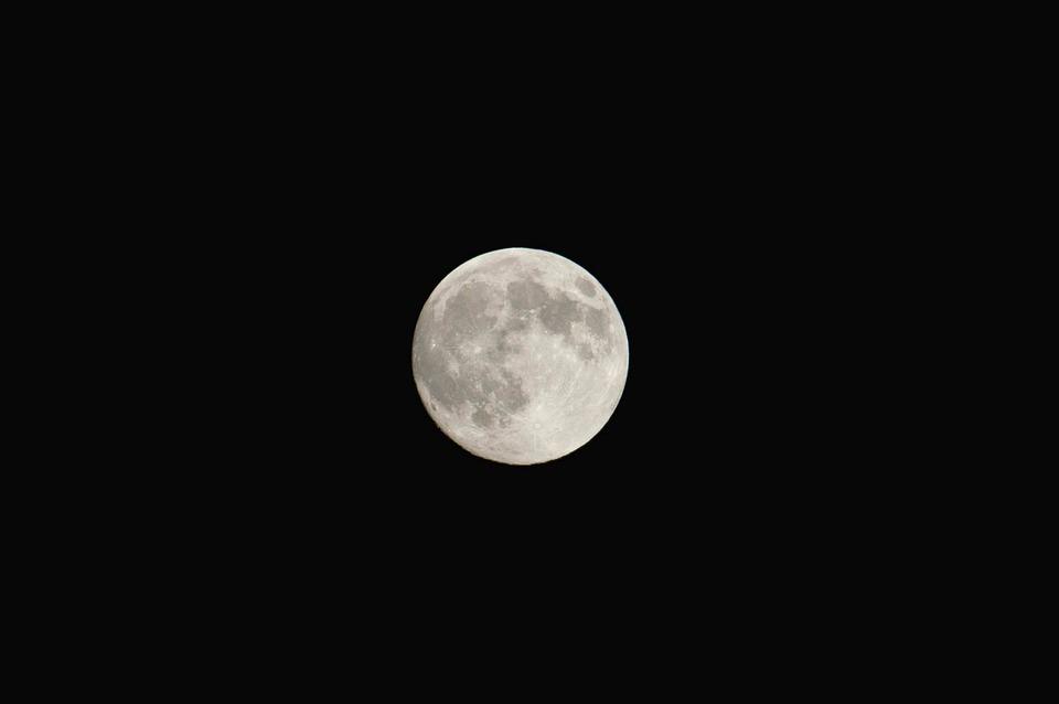 Full Moon, Luna, Sky, Night, Nero