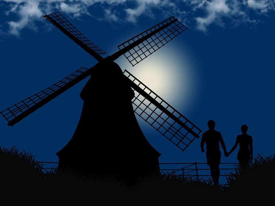 Romantic, Night, Couple, Mill, Silhouette, Fantasy