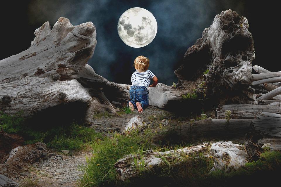 Mati, Child, Moon, Night, Konar, Boy, A Small Child