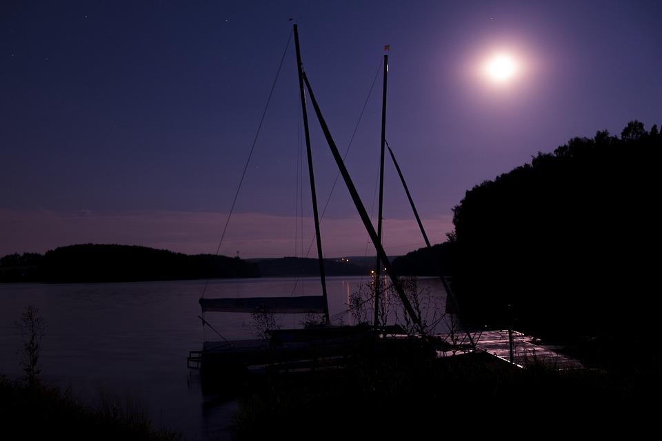 Night, Dark, Darkness, Moon, Sky, Lake, Water, Jetty