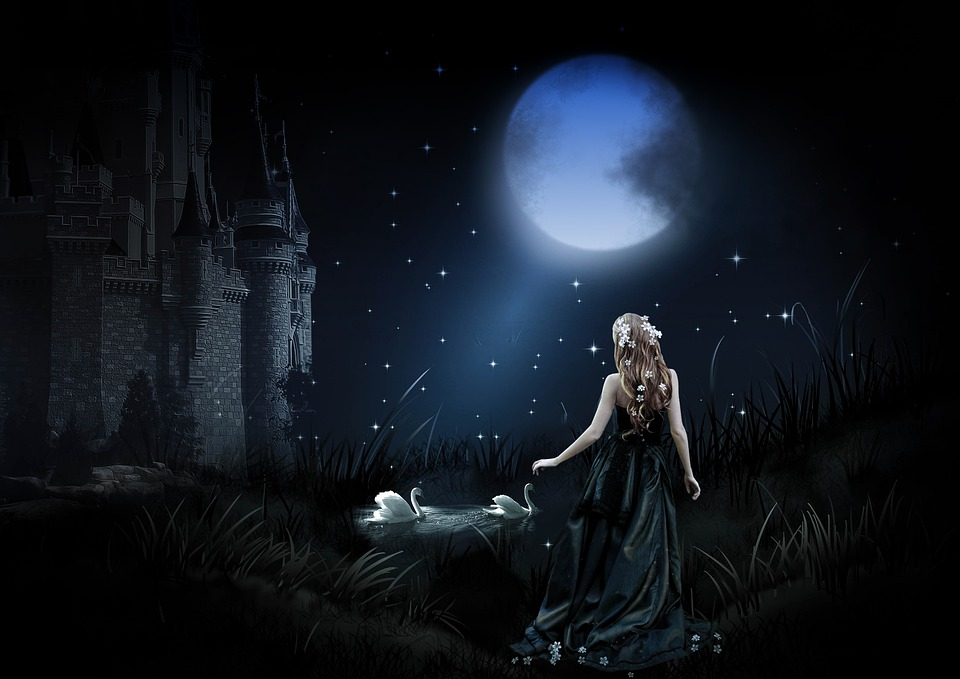 Fantasy, Night, Moon, Full Moon, Background, Mysterious