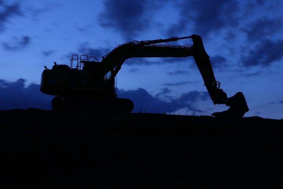 Excavators, Night, Night Construction Site