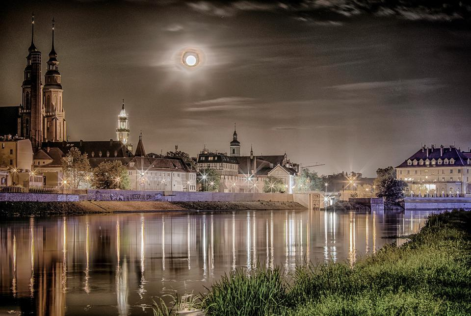 Opole, Panorama Of The City, Measles, Night