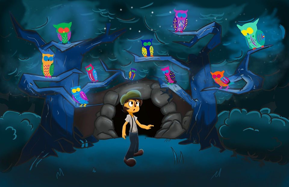 Owl, Night, Cave, Boy, Cartoon Characters