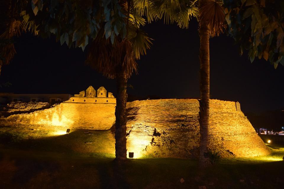 Chiang Mai, City Wall, Night Photograph, Palm Trees