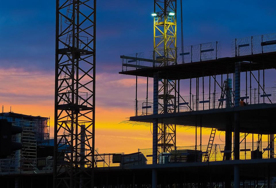 Construction, Site, Abendstimmung, Night Photograph