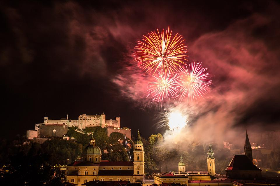 Salzburg, Fireworks, Night Photograph