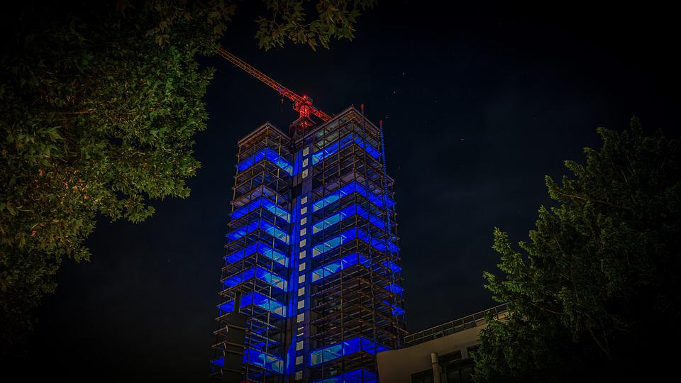 Skyscraper, Night Photograph, Long Exposure