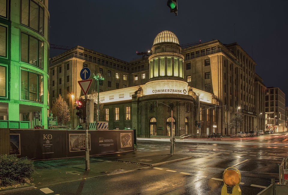 Night Photography, Banks, Düsseldorf, Architecture